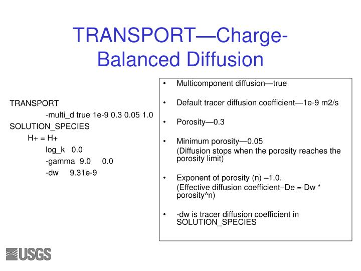TRANSPORT—Charge-Balanced Diffusion