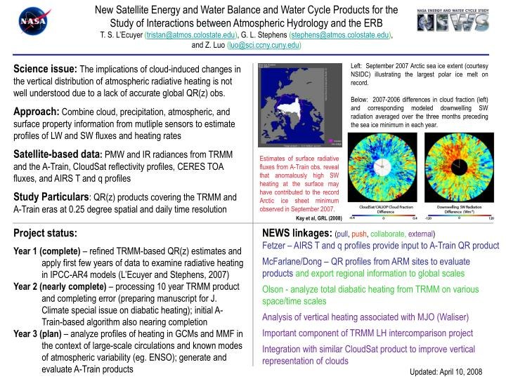 New Satellite Energy and Water Balance and Water Cycle Products for the Study of Interactions betwee...