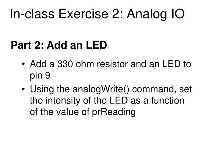 In-class Exercise 2: Analog IO