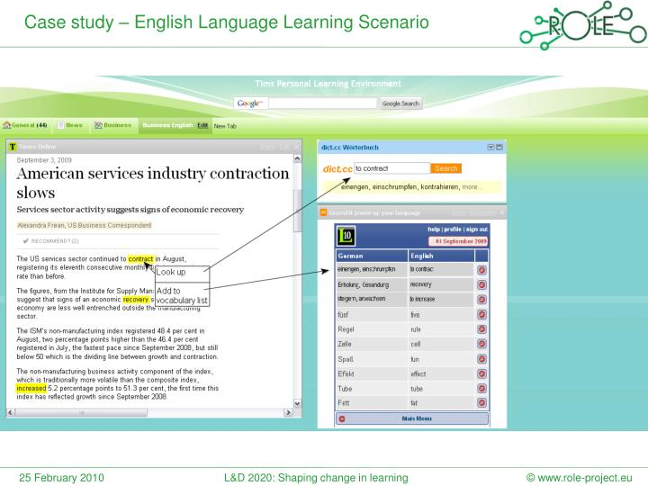 Case study – English Language Learning Scenario