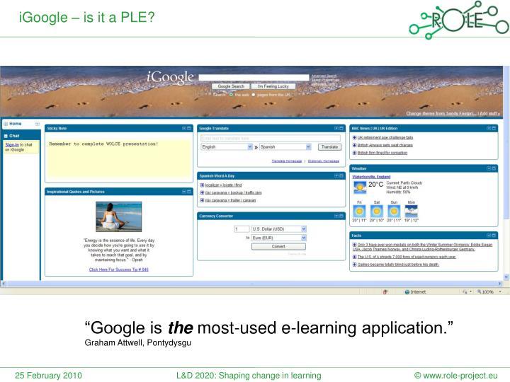 iGoogle – is it a PLE?