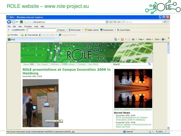 ROLE website – www.role-project.eu