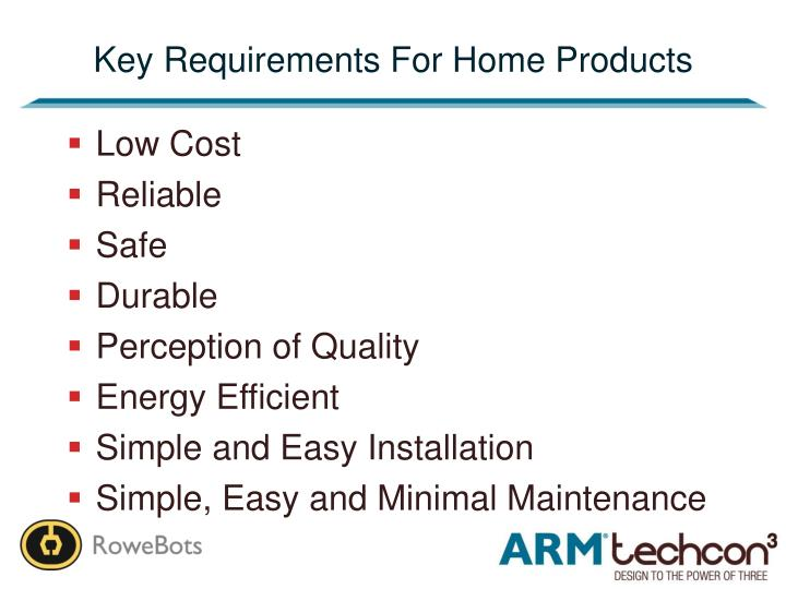 Key Requirements For Home Products