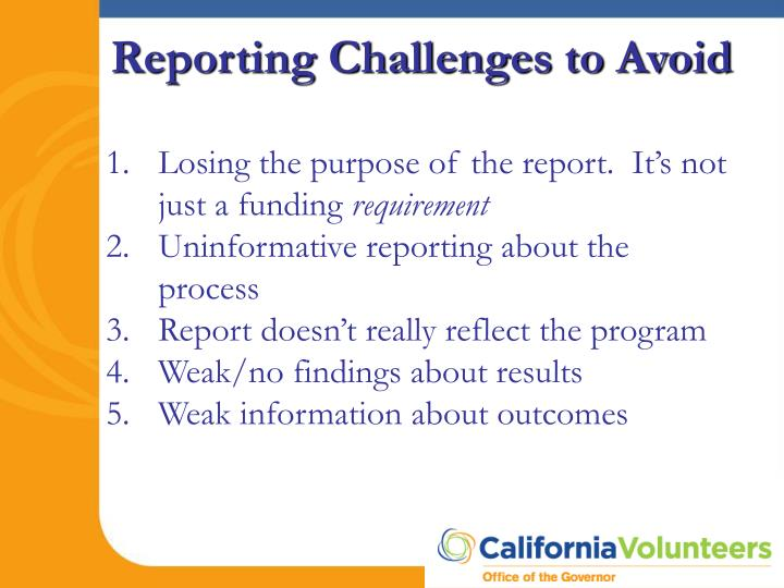 Losing the purpose of the report.  It's not just a funding