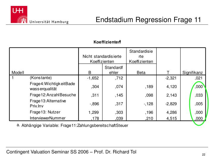 Endstadium Regression Frage 11