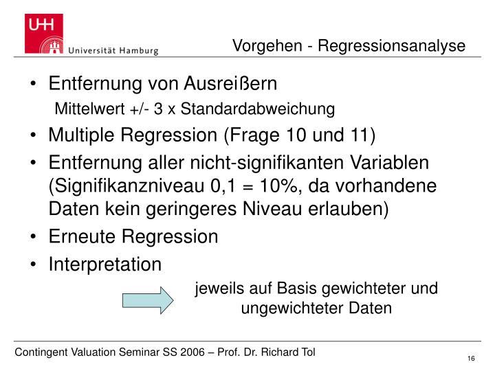 Vorgehen - Regressionsanalyse