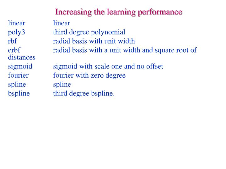 Increasing the learning performance