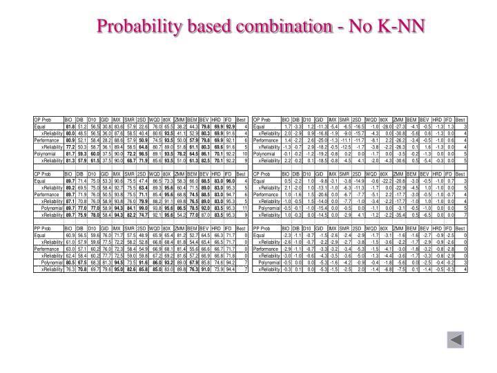 Probability based combination - No K-NN