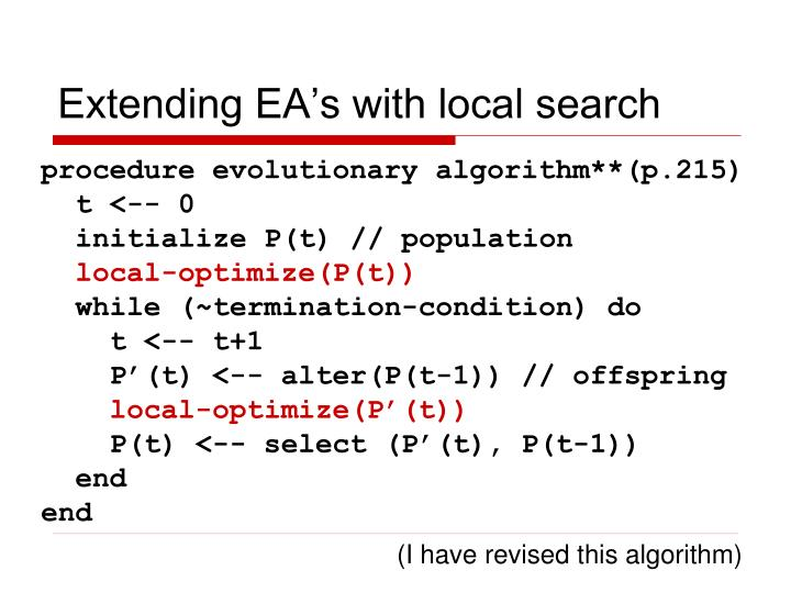 Extending EA's with local search