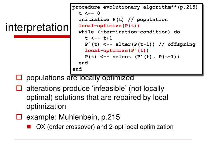 procedure evolutionary algorithm**(p.215)