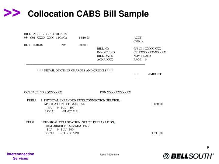 Collocation CABS Bill Sample