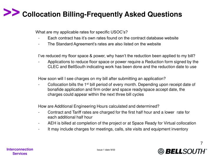 Collocation Billing-Frequently Asked Questions