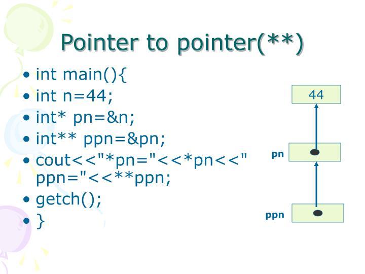 Pointer to pointer(**)