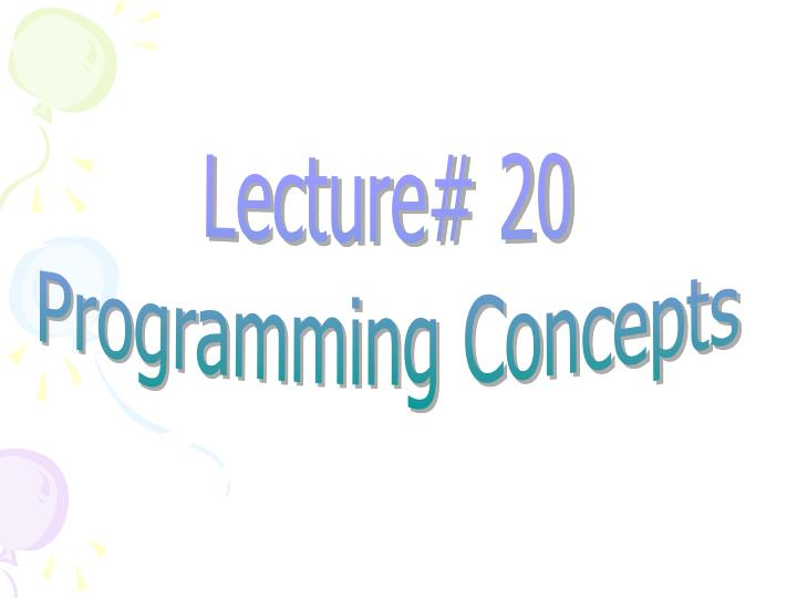 Lecture# 20