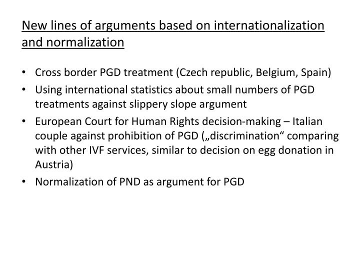 New lines of arguments based on internationalization and normalization