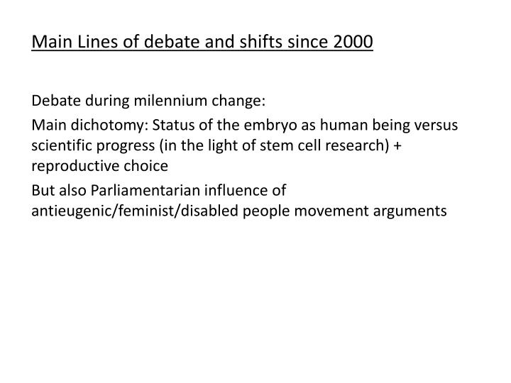 Main Lines of debate and shifts since 2000