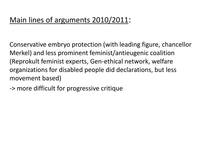 Main lines of arguments 2010/2011