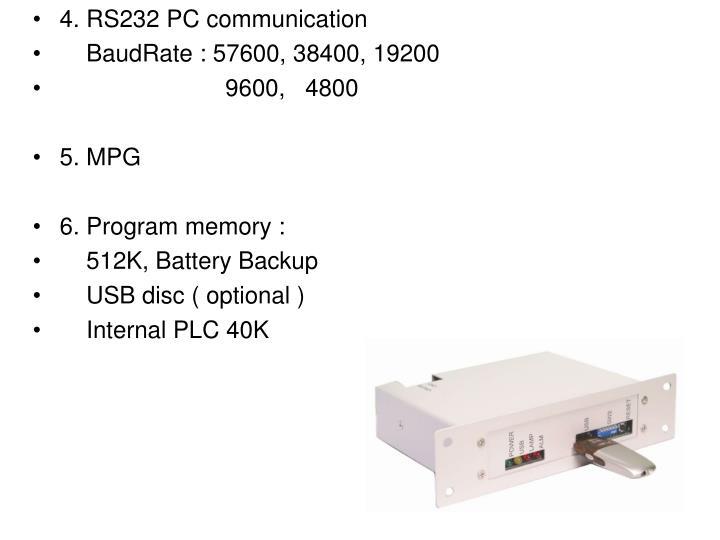 4. RS232 PC communication