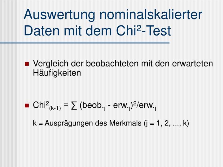 Auswertung nominalskalierter Daten mit dem Chi