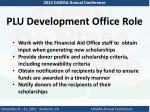 plu development office role