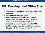 plu development office role1