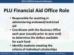 plu financial aid office role