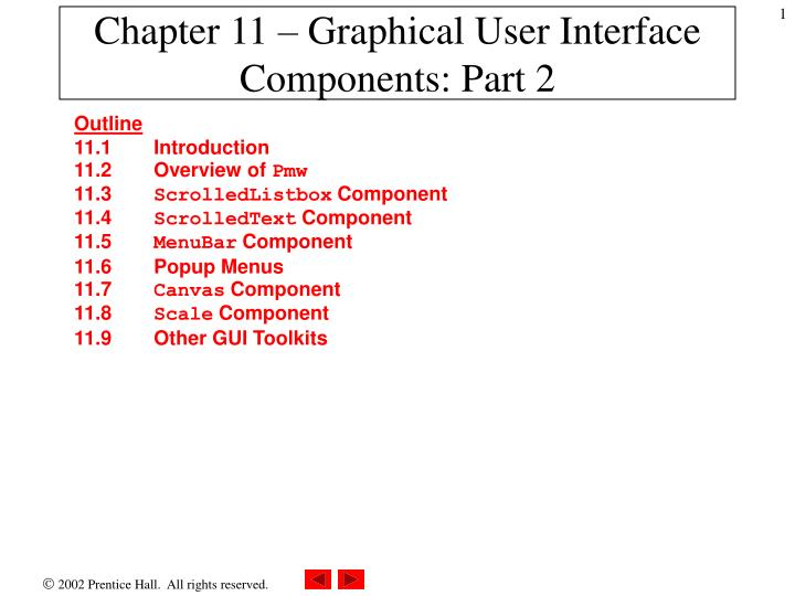 Chapter 11 graphical user interface components part 2