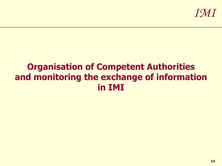 Organisation of Competent Authorities