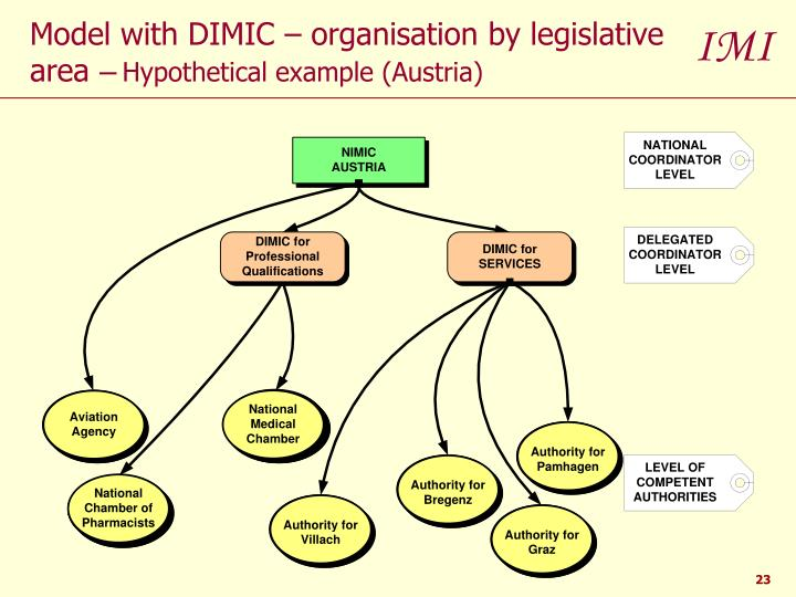 Model with DIMIC – organisation by legislative area