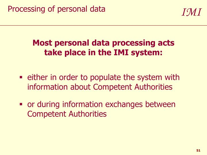 Processing of personal data