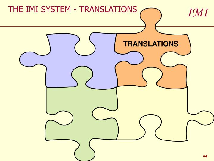 THE IMI SYSTEM - TRANSLATIONS