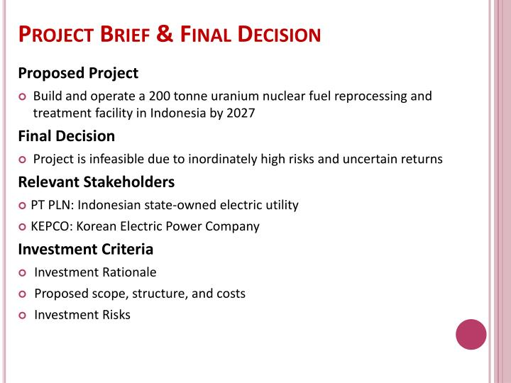 Project brief final decision