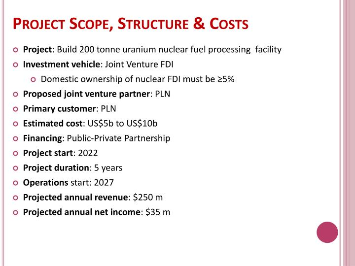 Project Scope, Structure & Costs