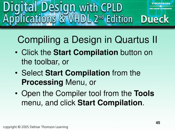 Compiling a Design in Quartus II