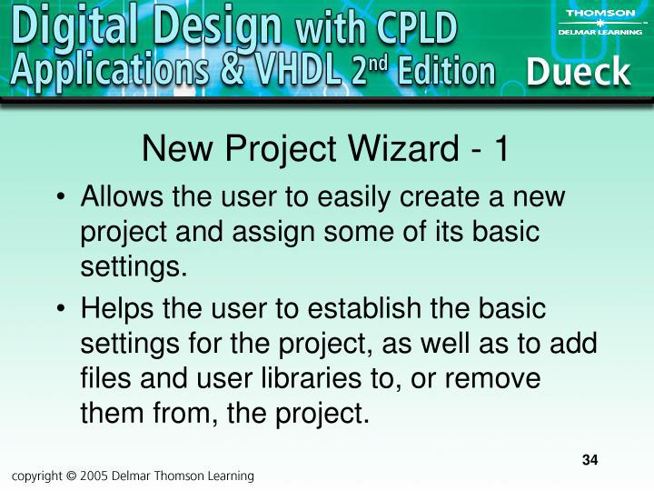 New Project Wizard - 1
