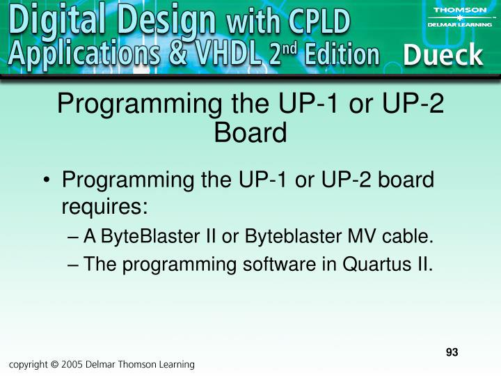 Programming the UP-1 or UP-2 Board