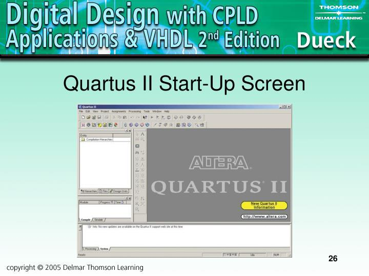 Quartus II Start-Up Screen