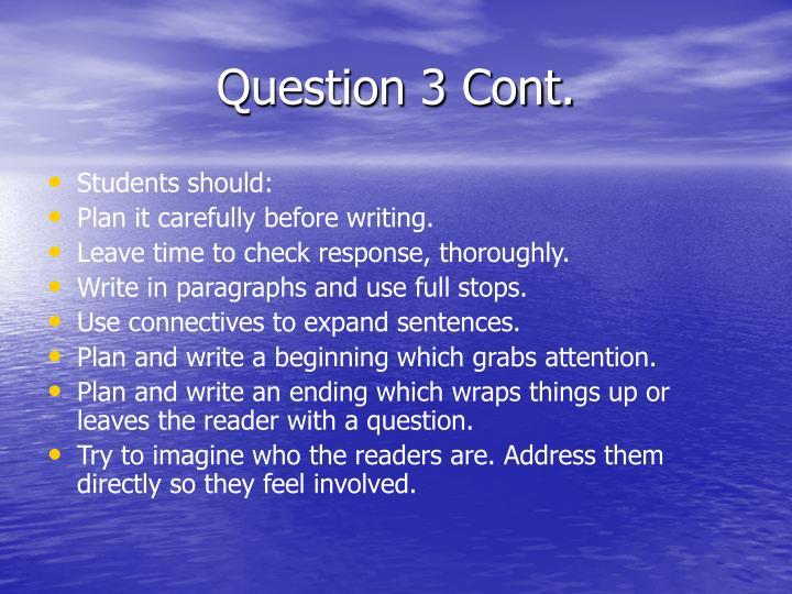 Question 3 Cont.