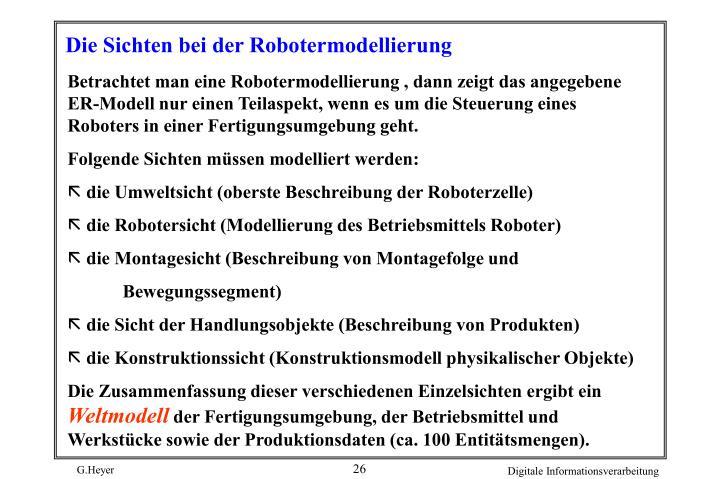 Die Sichten bei der Robotermodellierung