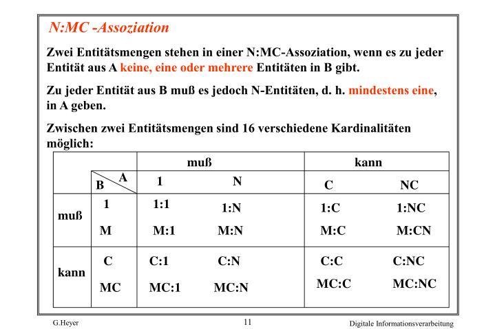 Zwei Entitätsmengen stehen in einer N:MC-Assoziation, wenn es zu jeder Entität aus A