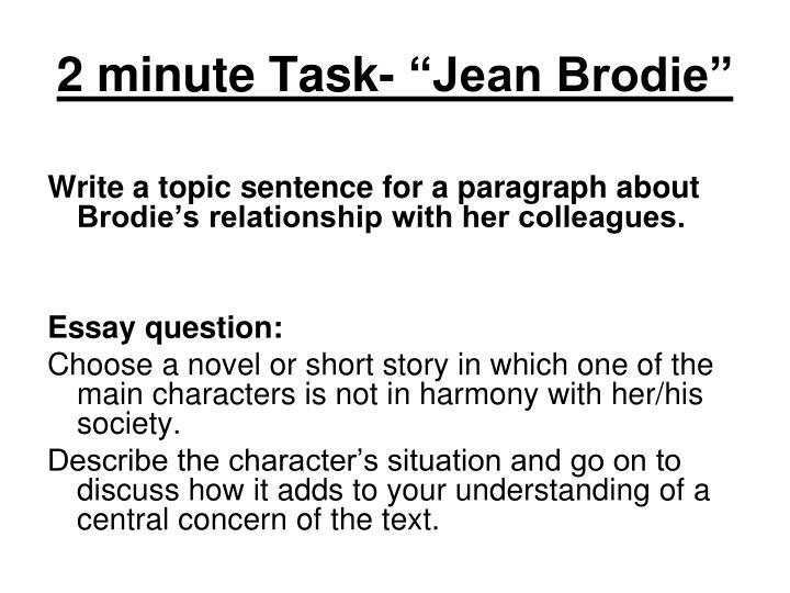 """2 minute Task- """"Jean Brodie"""""""
