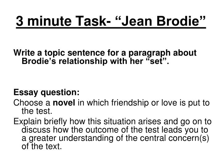 """3 minute Task- """"Jean Brodie"""""""