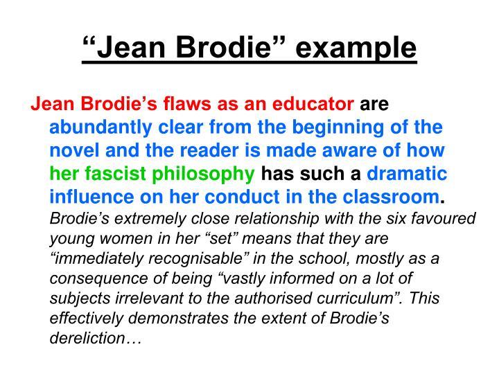 """""""Jean Brodie"""" example"""