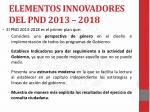 elementos innovadores del pnd 2013 2018
