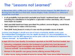 the lessons not learned