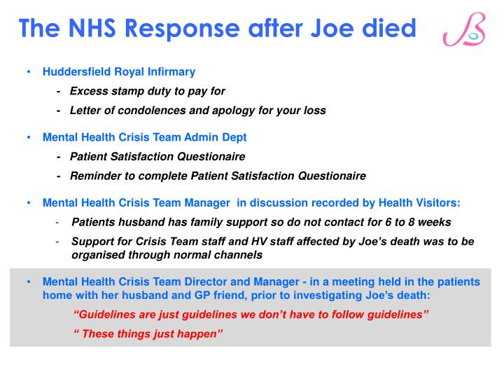 The NHS Response after Joe died