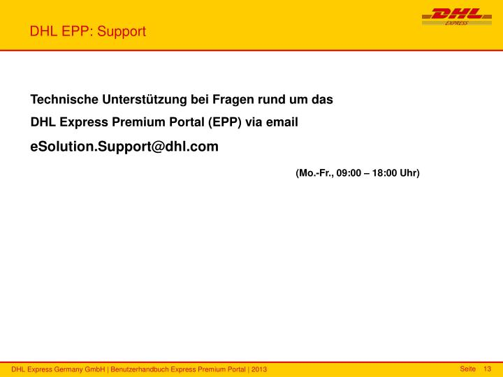 DHL EPP: Support