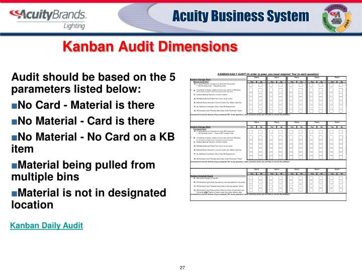 Kanban Audit Dimensions