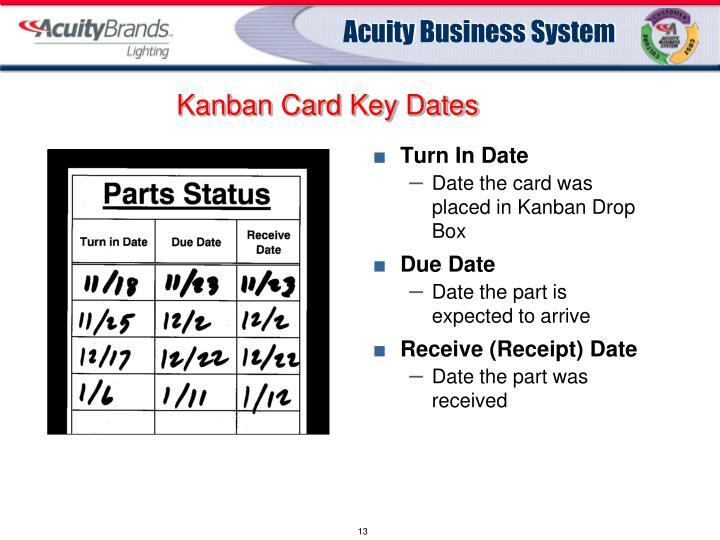 Kanban Card Key Dates