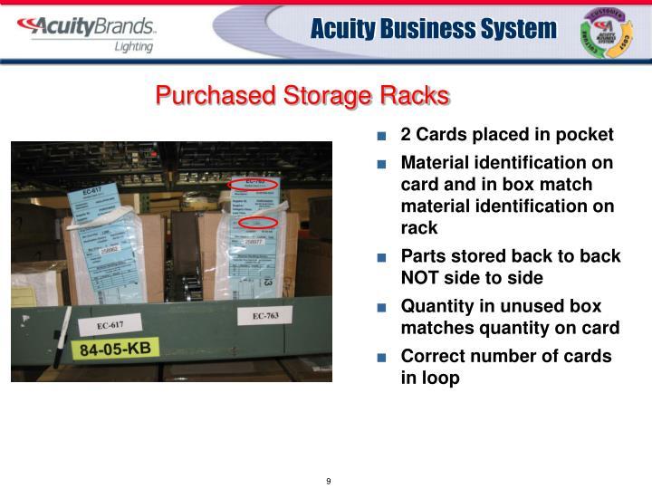Purchased Storage Racks